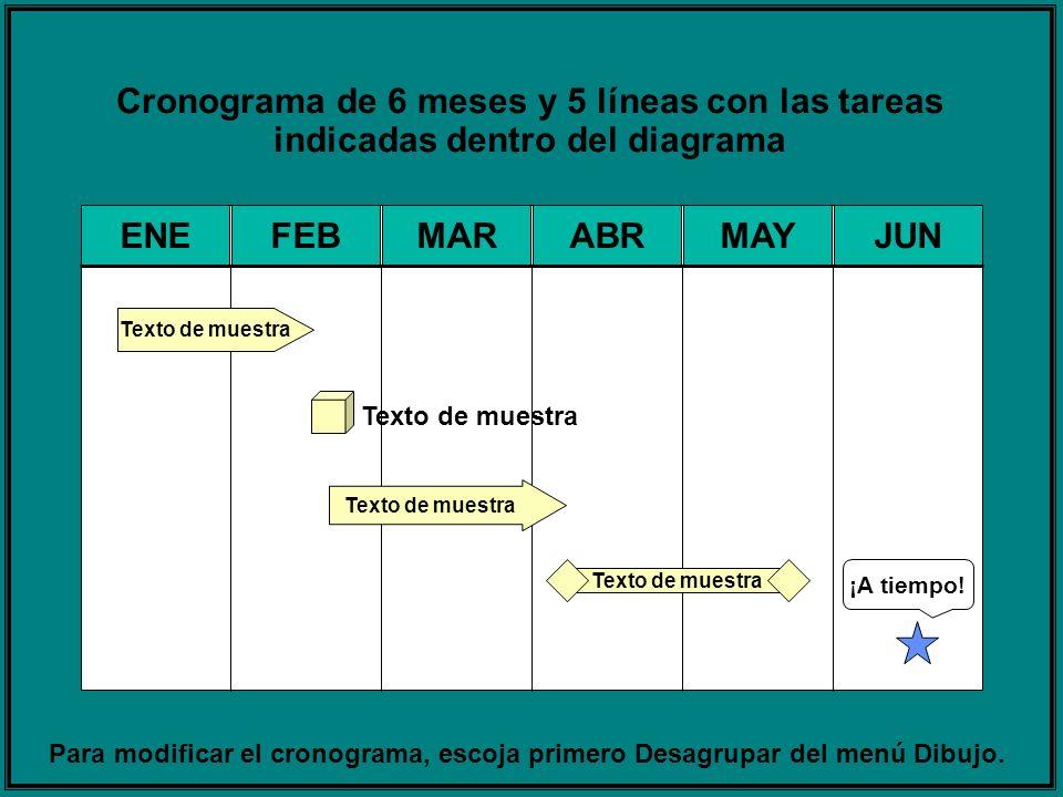 Cronograma de 6 meses y 5 líneas con las tareas indicadas dentro del diagrama