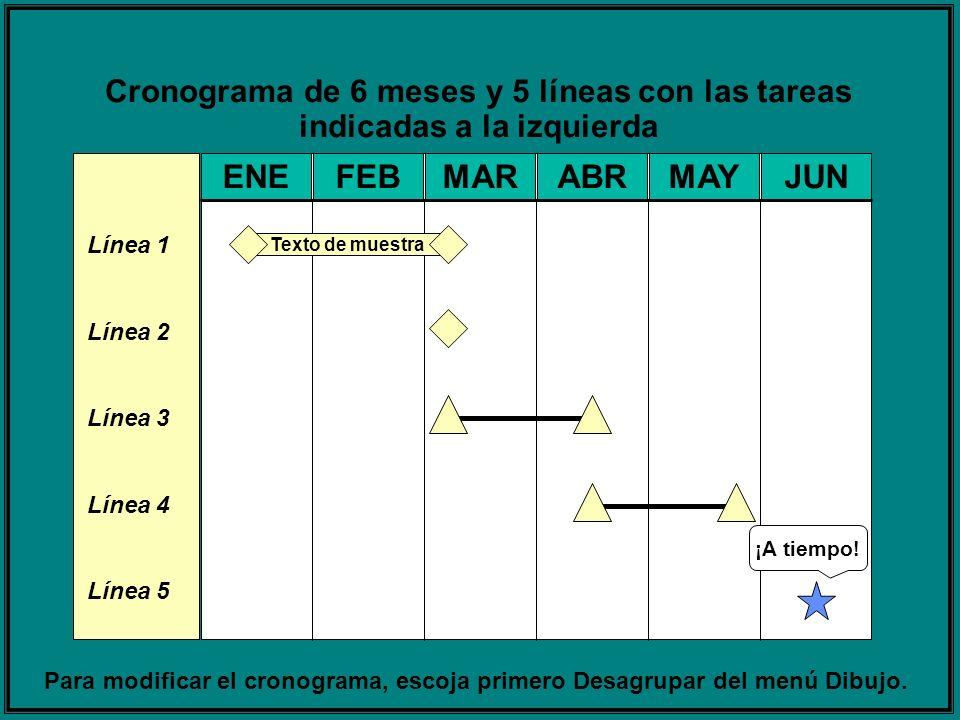 Cronograma de 6 meses y 5 líneas con las tareas indicadas a la izquierda