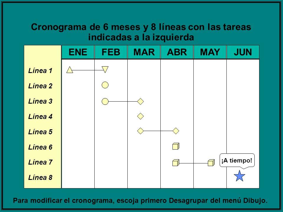 Cronograma de 6 meses y 8 líneas con las tareas indicadas a la izquierda