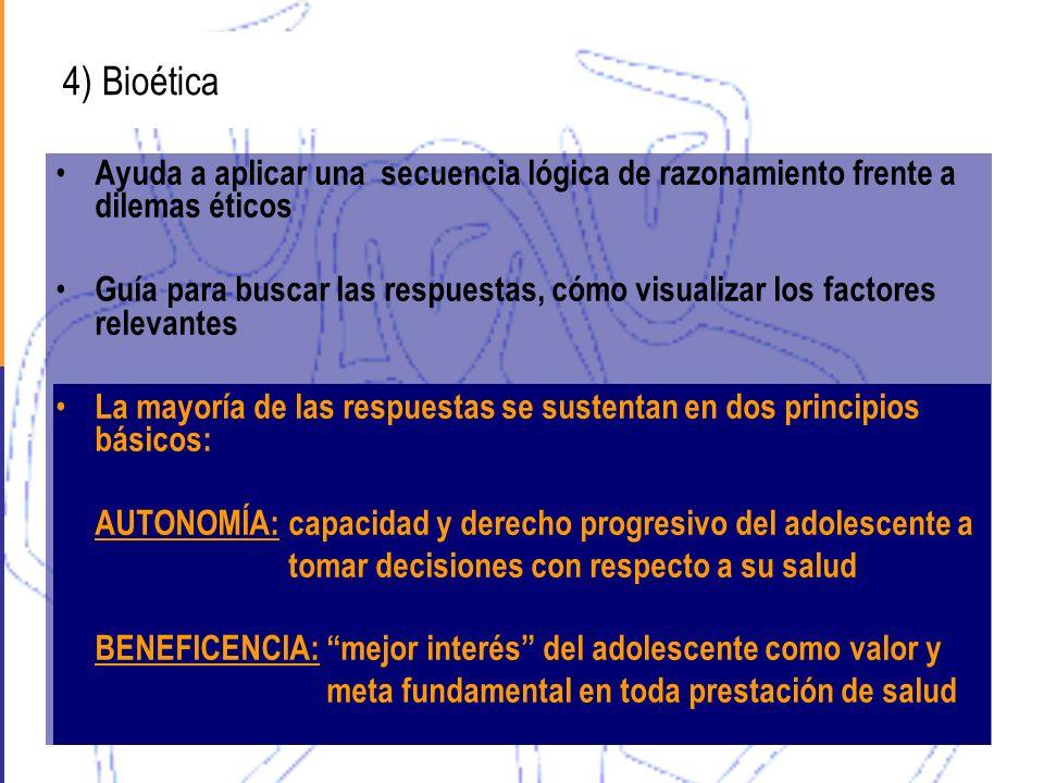 4) Bioética Ayuda a aplicar una secuencia lógica de razonamiento frente a dilemas éticos.