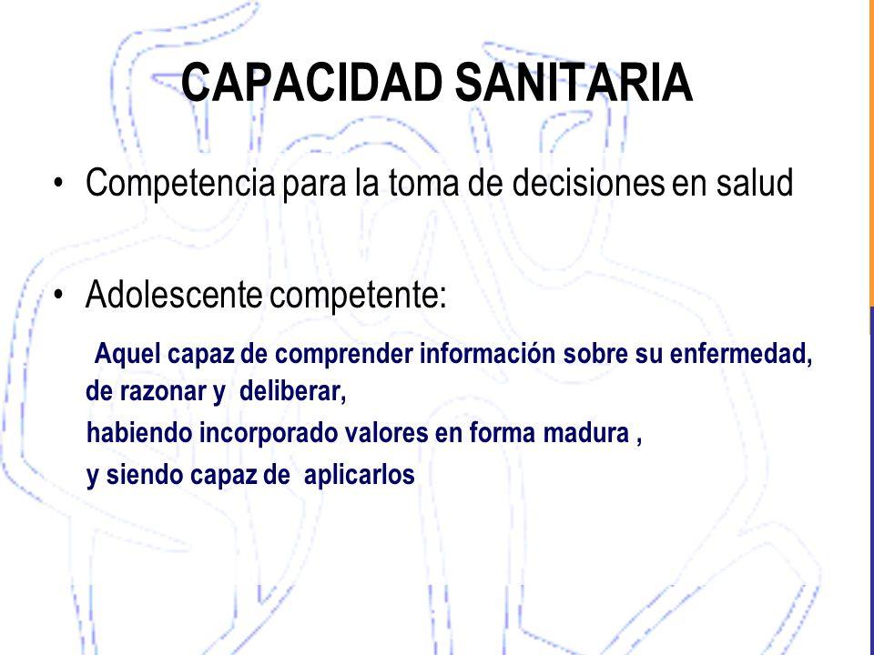CAPACIDAD SANITARIA Competencia para la toma de decisiones en salud