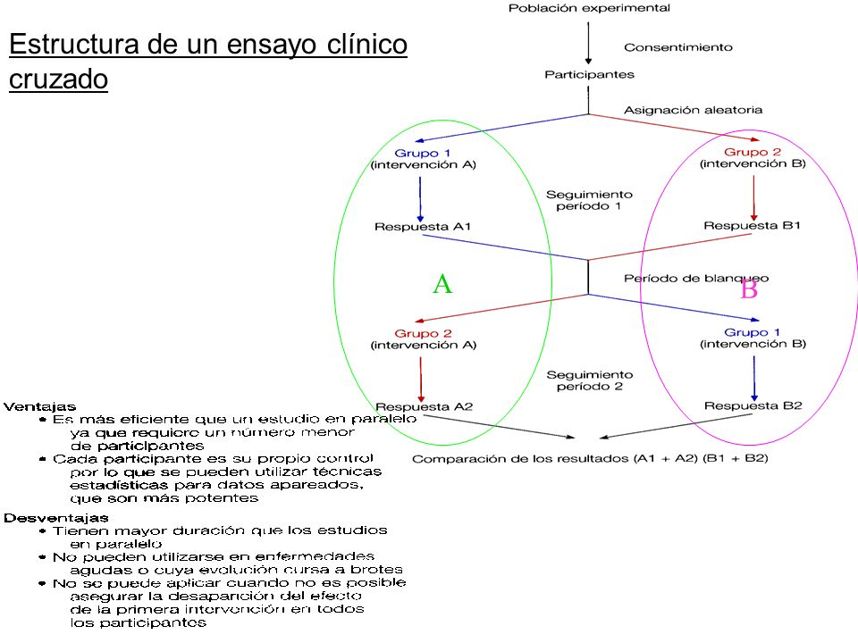 B A Estructura de un ensayo clínico cruzado