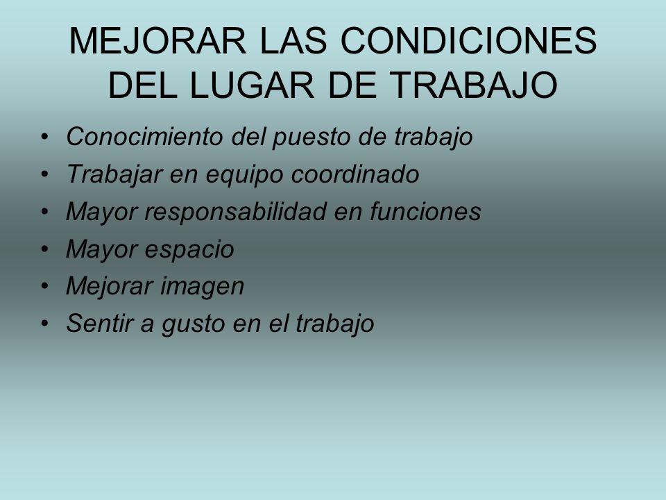 MEJORAR LAS CONDICIONES DEL LUGAR DE TRABAJO