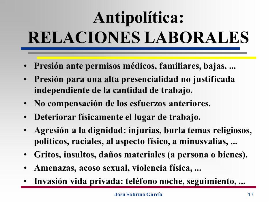 Antipolítica: RELACIONES LABORALES