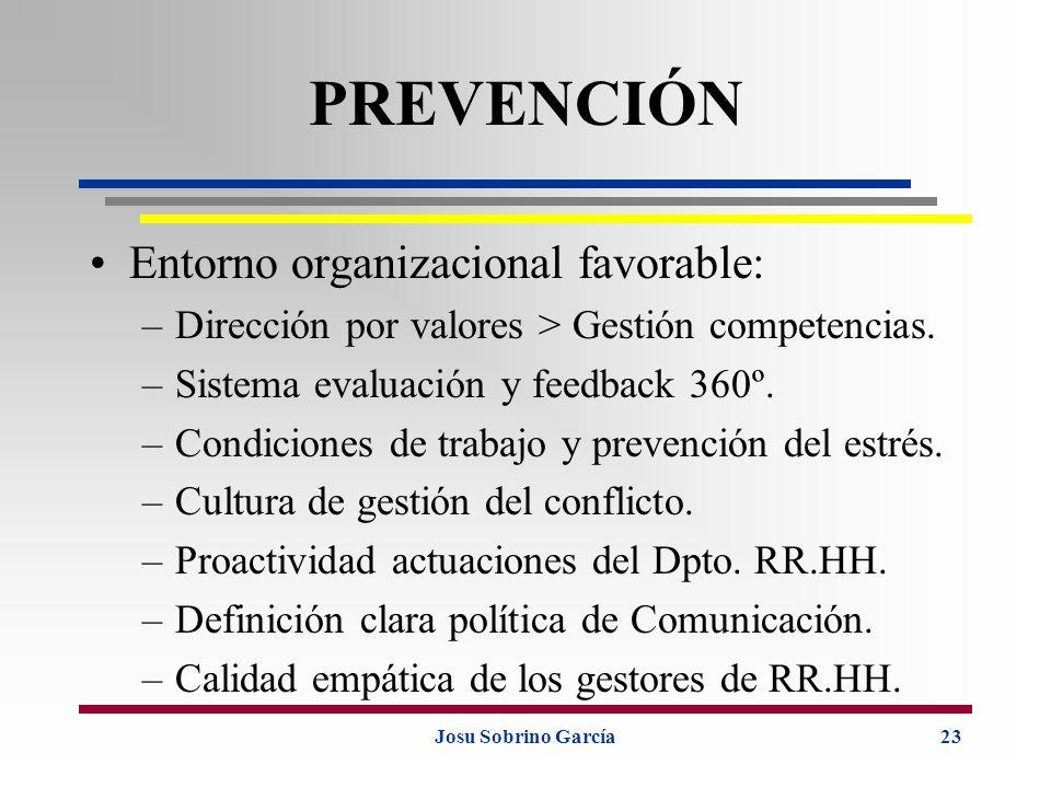 PREVENCIÓN Entorno organizacional favorable: