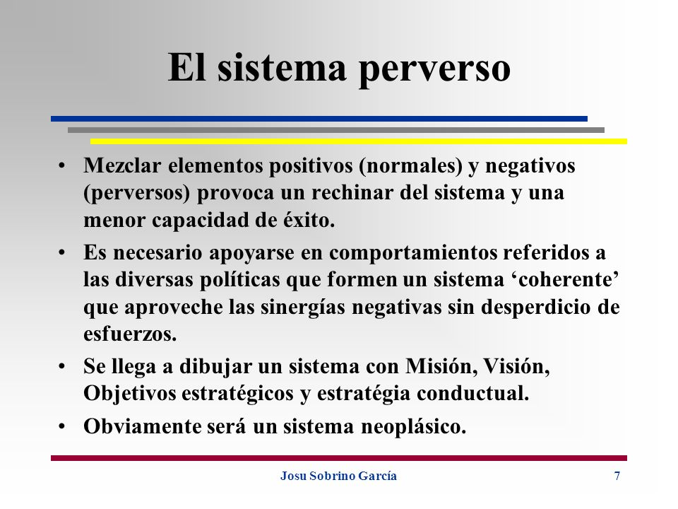 El sistema perverso Mezclar elementos positivos (normales) y negativos (perversos) provoca un rechinar del sistema y una menor capacidad de éxito.
