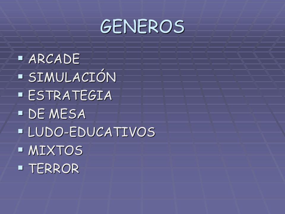 GENEROS ARCADE SIMULACIÓN ESTRATEGIA DE MESA LUDO-EDUCATIVOS MIXTOS