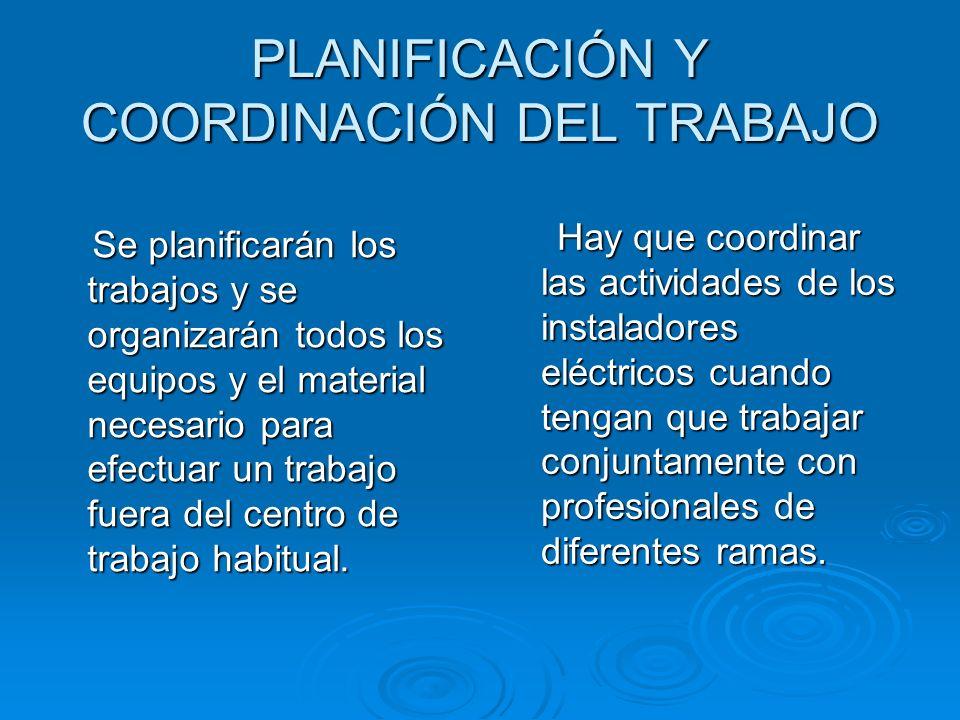 PLANIFICACIÓN Y COORDINACIÓN DEL TRABAJO