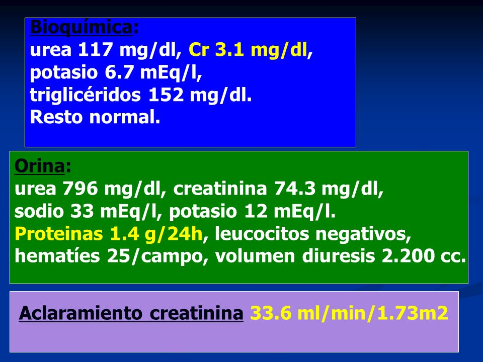Aclaramiento creatinina 33.6 ml/min/1.73m2