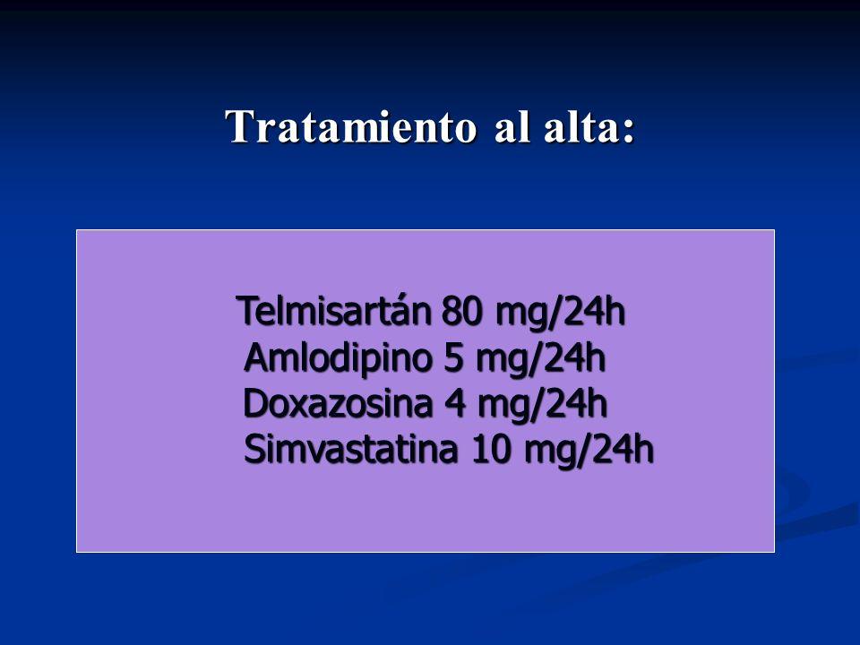 Tratamiento al alta: Telmisartán 80 mg/24h Amlodipino 5 mg/24h