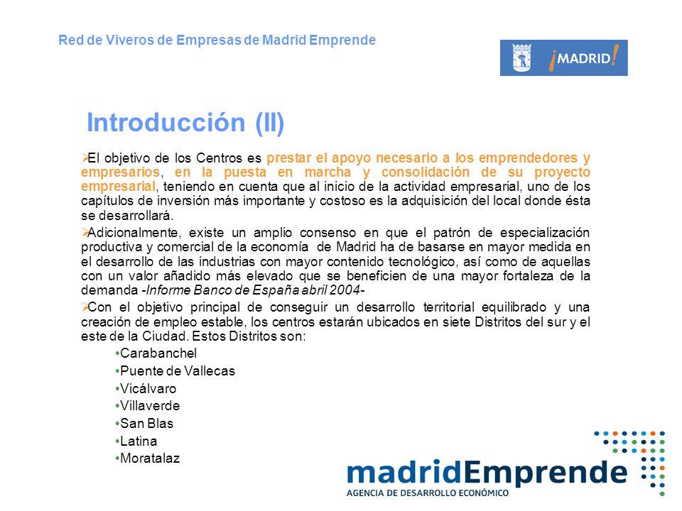 Introducción (II) Red de Viveros de Empresas de Madrid Emprende