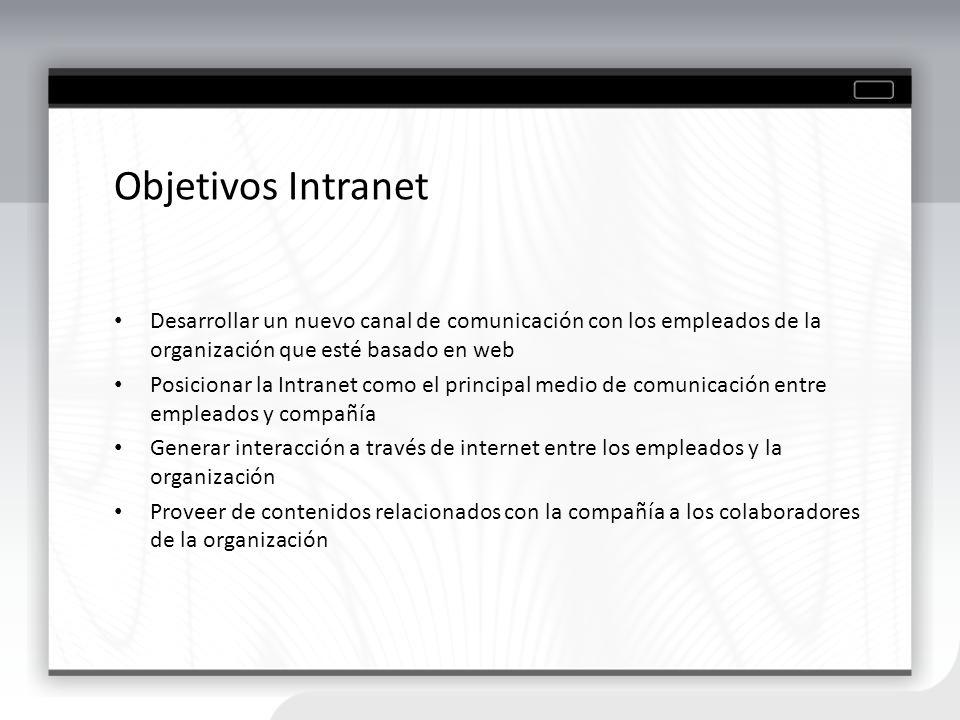 Objetivos Intranet Desarrollar un nuevo canal de comunicación con los empleados de la organización que esté basado en web.