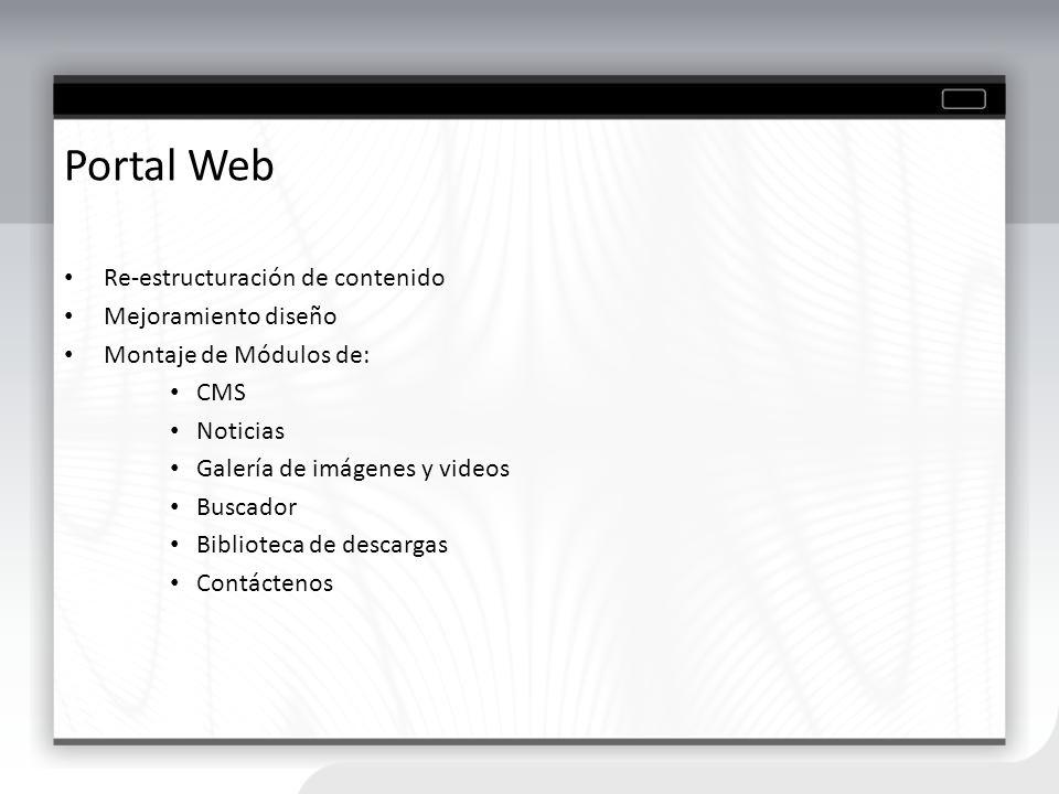 Portal Web Re-estructuración de contenido Mejoramiento diseño