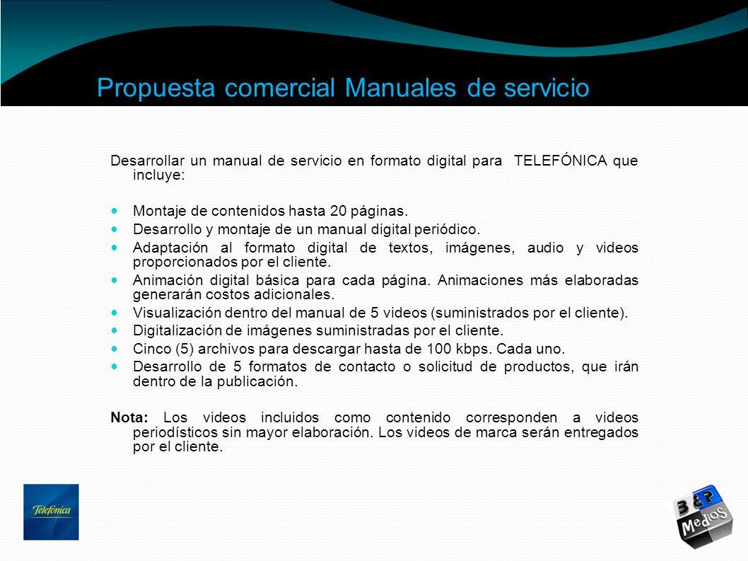 Propuesta comercial Manuales de servicio
