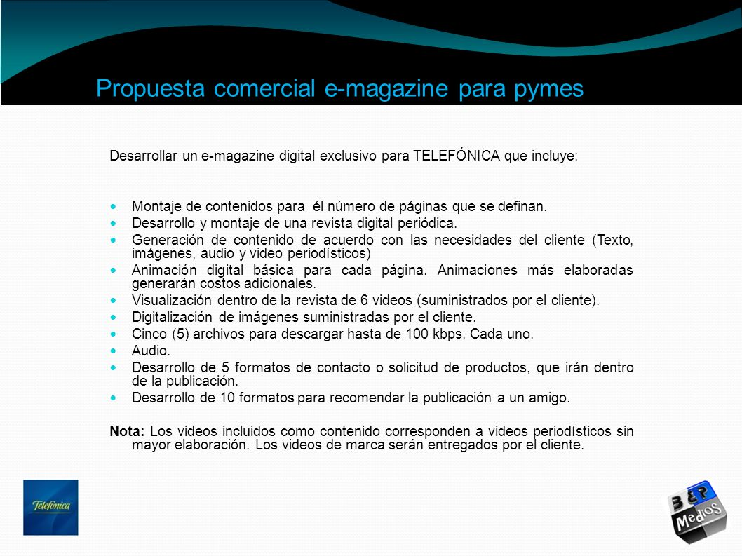 Propuesta comercial e-magazine para pymes