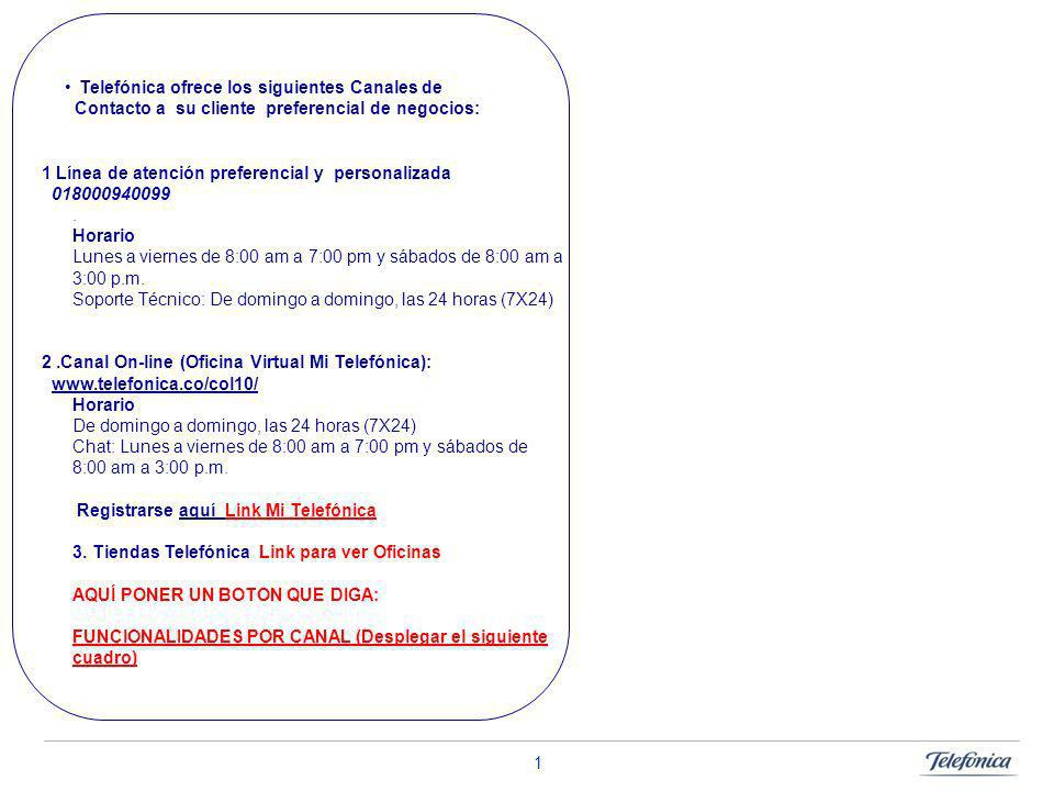 Telefónica ofrece los siguientes Canales de Contacto a su cliente preferencial de negocios: