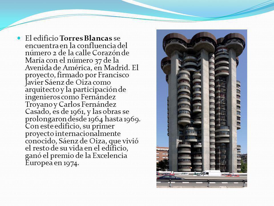 El edificio Torres Blancas se encuentra en la confluencia del número 2 de la calle Corazón de María con el número 37 de la Avenida de América, en Madrid.