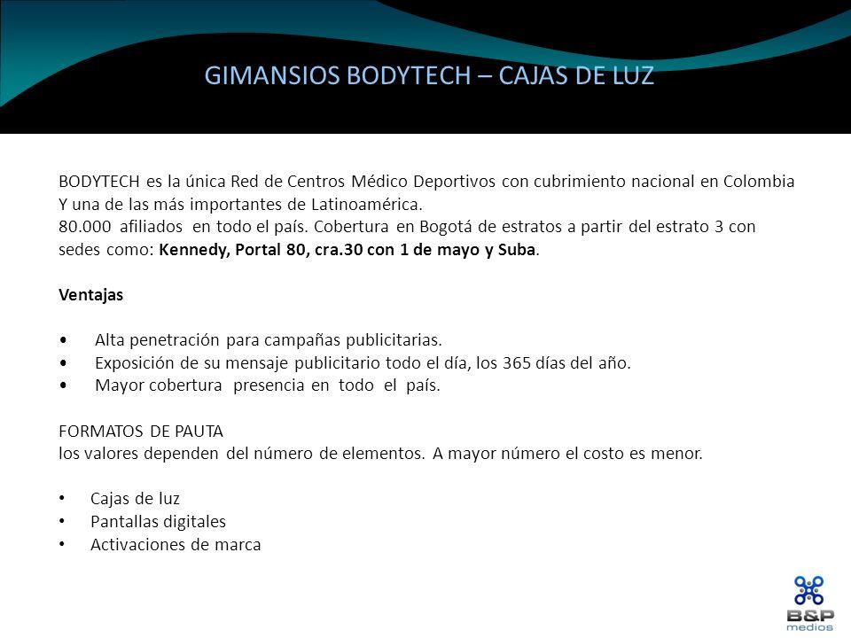 GIMANSIOS BODYTECH – CAJAS DE LUZ