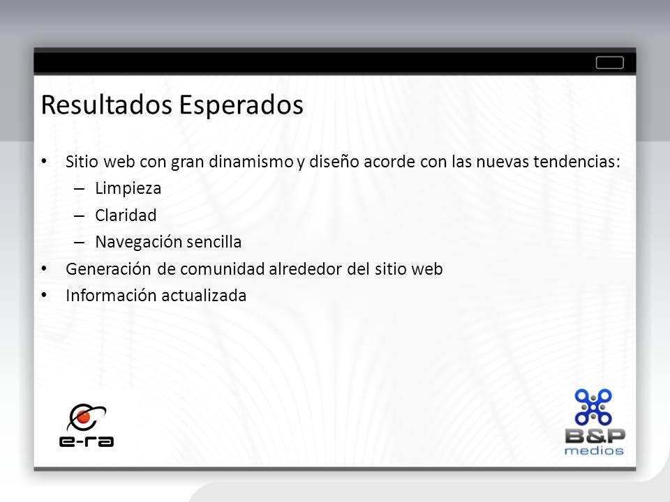 Resultados Esperados Sitio web con gran dinamismo y diseño acorde con las nuevas tendencias: Limpieza.