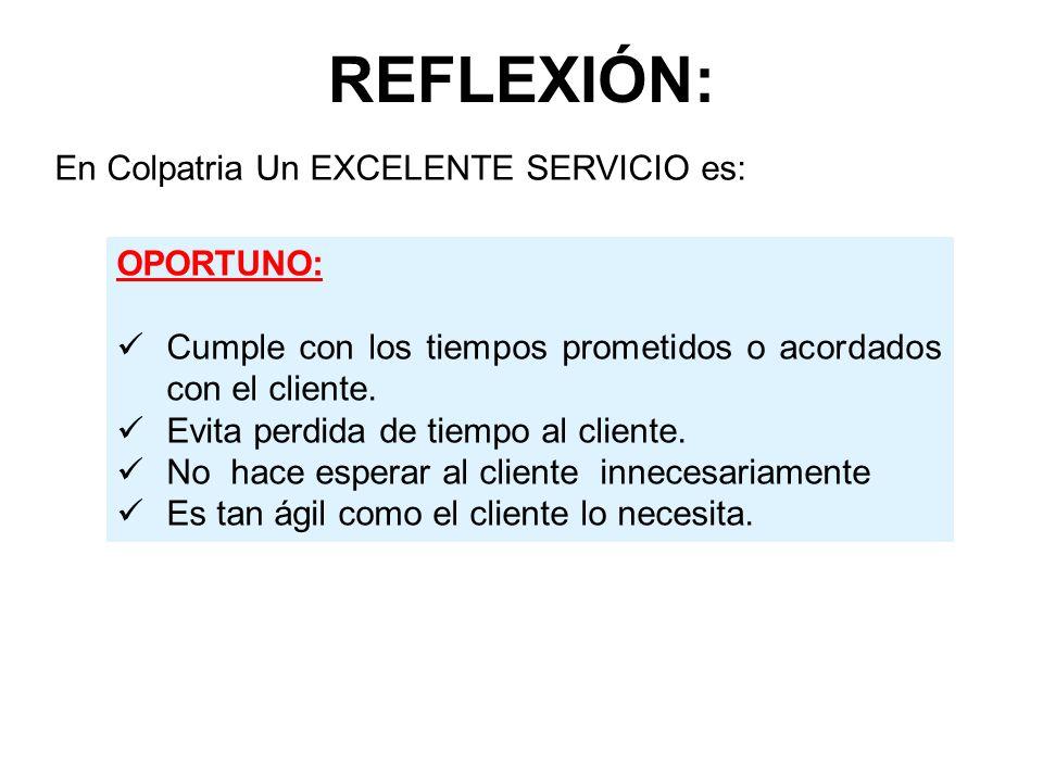 REFLEXIÓN: En Colpatria Un EXCELENTE SERVICIO es: OPORTUNO: