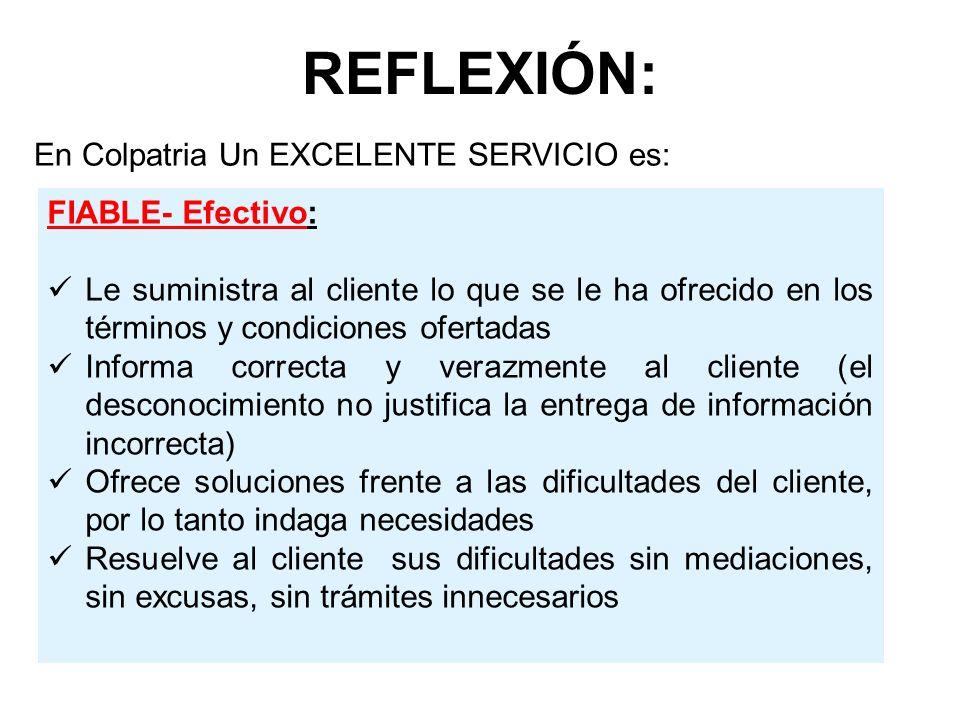 REFLEXIÓN: En Colpatria Un EXCELENTE SERVICIO es: FIABLE- Efectivo: