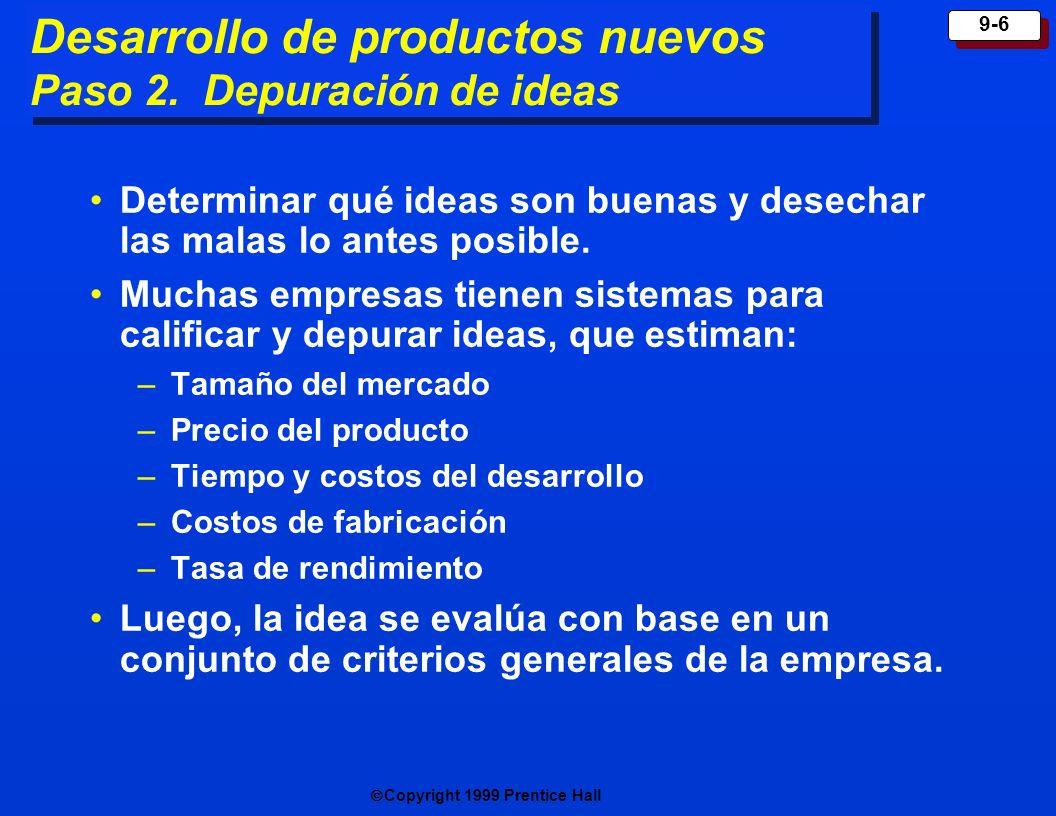 Desarrollo de productos nuevos Paso 2. Depuración de ideas
