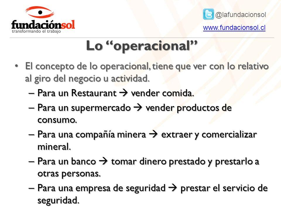 Lo operacional El concepto de lo operacional, tiene que ver con lo relativo al giro del negocio u actividad.