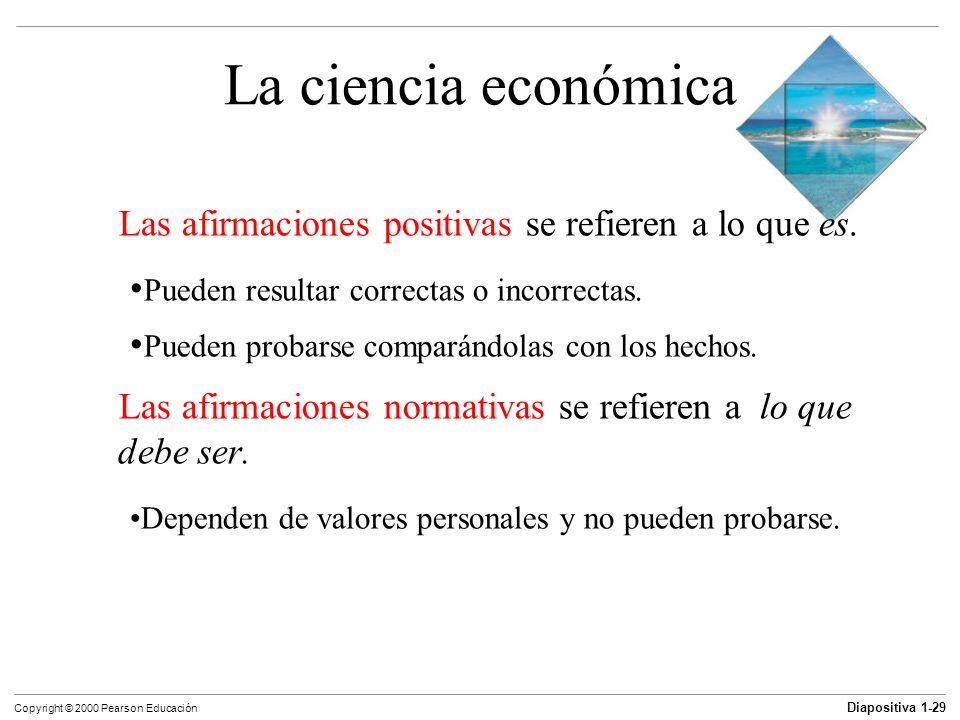 La ciencia económica Las afirmaciones positivas se refieren a lo que es. Pueden resultar correctas o incorrectas.