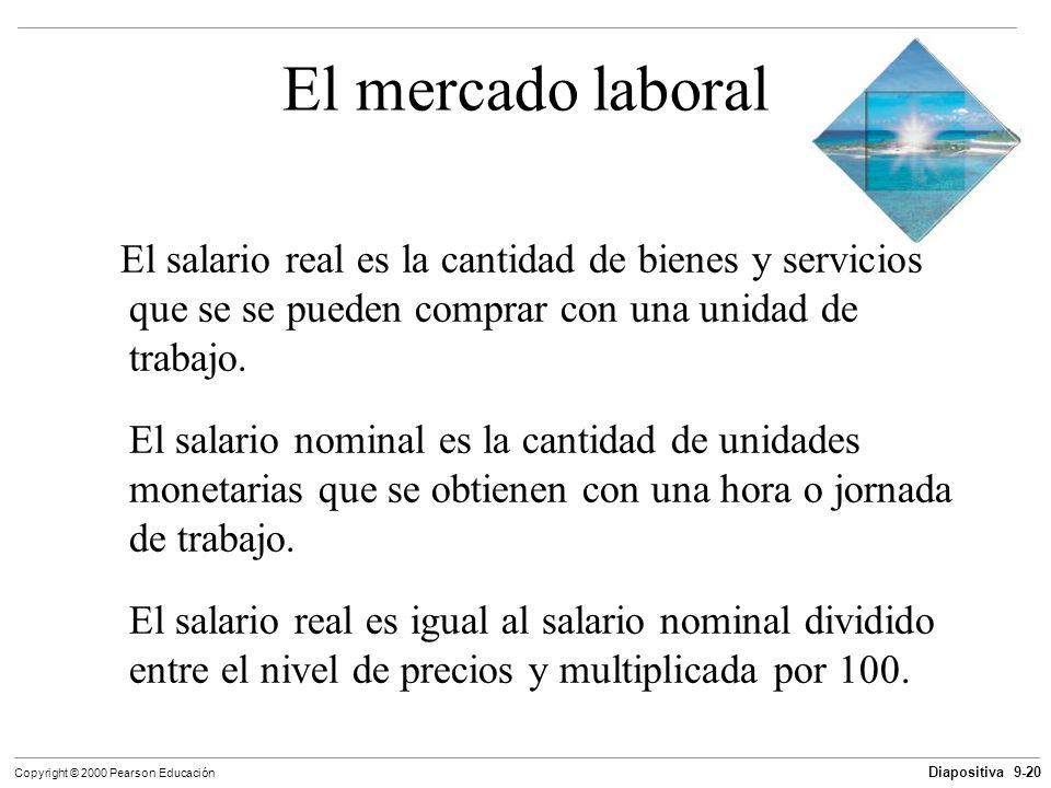 El mercado laboral El salario real es la cantidad de bienes y servicios que se se pueden comprar con una unidad de trabajo.
