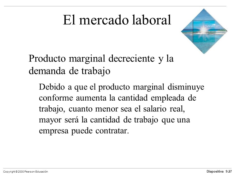 El mercado laboral Producto marginal decreciente y la demanda de trabajo.