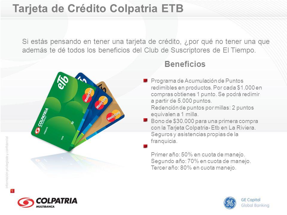 Tarjeta de Crédito Colpatria ETB