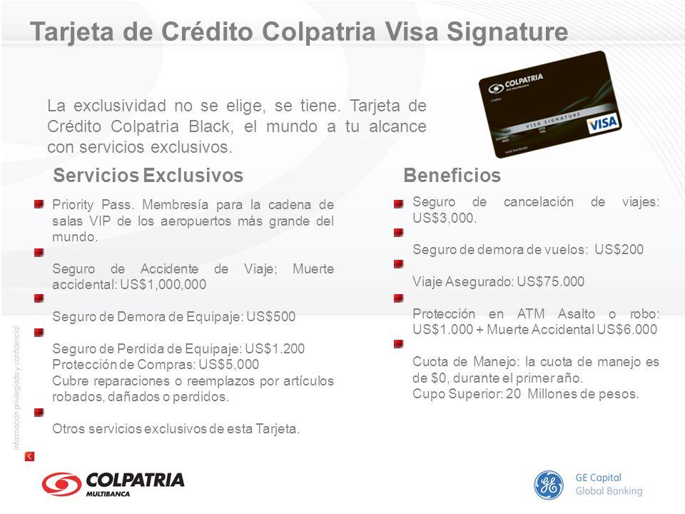 Tarjeta de Crédito Colpatria Visa Signature