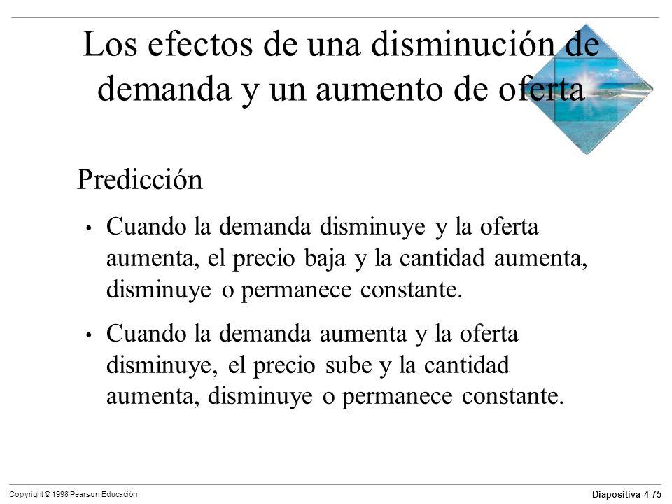 Los efectos de una disminución de demanda y un aumento de oferta