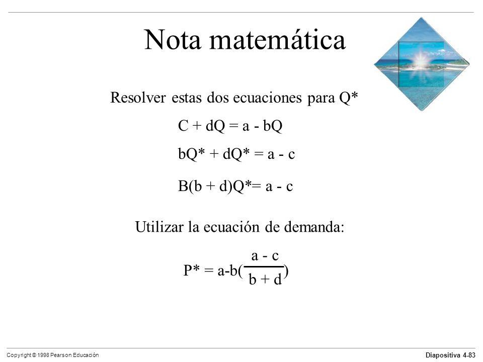 Nota matemática Resolver estas dos ecuaciones para Q* C + dQ = a - bQ