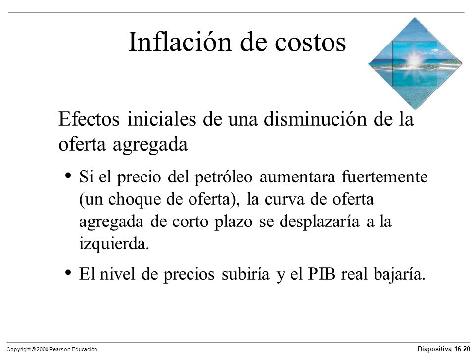 Inflación de costosEfectos iniciales de una disminución de la oferta agregada.