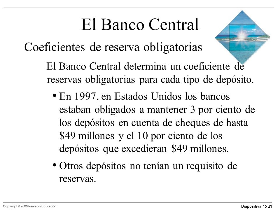 El Banco Central Coeficientes de reserva obligatorias