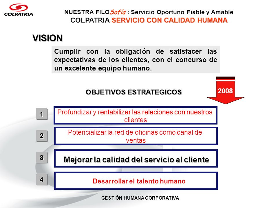 VISION Mejorar la calidad del servicio al cliente