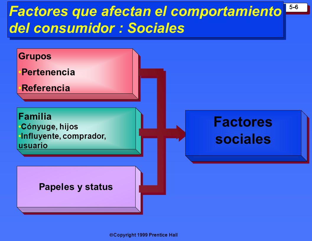 Factores que afectan el comportamiento del consumidor : Sociales