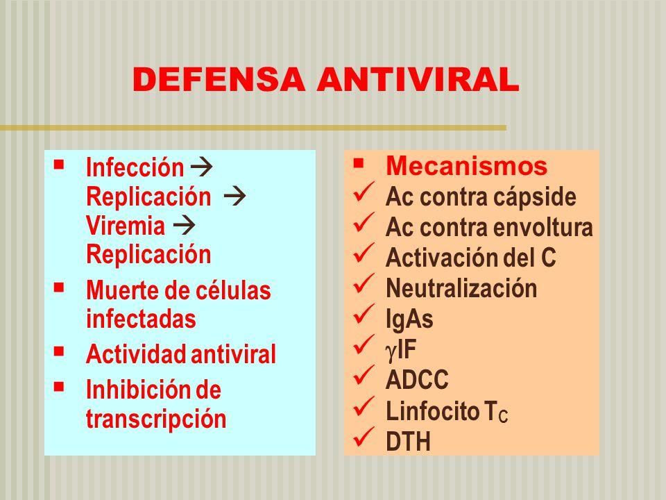 DEFENSA ANTIVIRAL Infección  Replicación  Viremia  Replicación