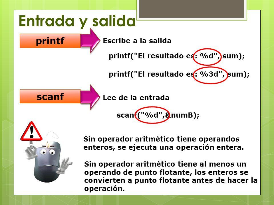 Entrada y salida printf scanf Escribe a la salida