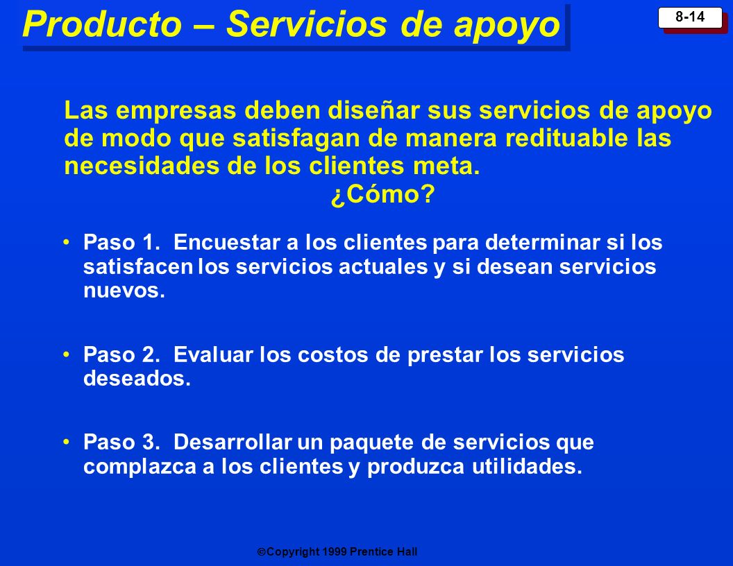 Producto – Servicios de apoyo