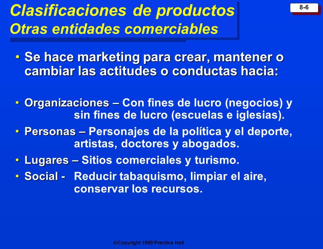 Clasificaciones de productos Otras entidades comerciables