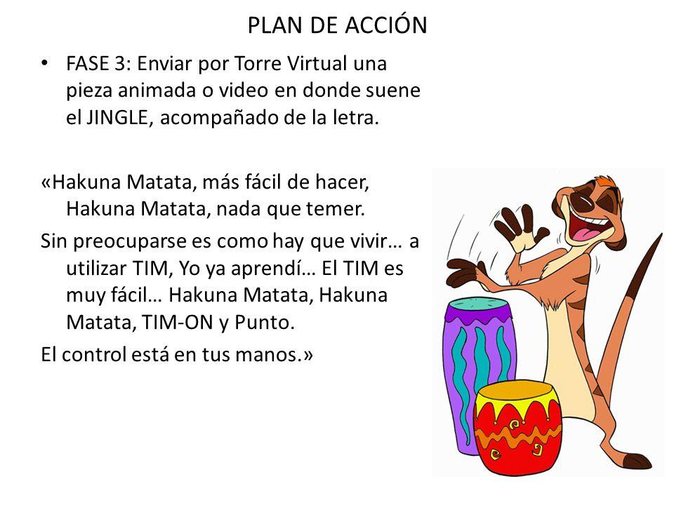 PLAN DE ACCIÓNFASE 3: Enviar por Torre Virtual una pieza animada o video en donde suene el JINGLE, acompañado de la letra.