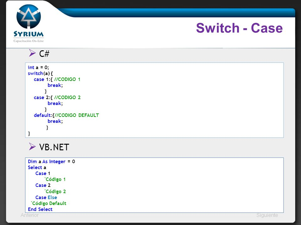 Switch - Case C# VB.NET int a = 0; switch(a) { case 1:{ //CODIGO 1