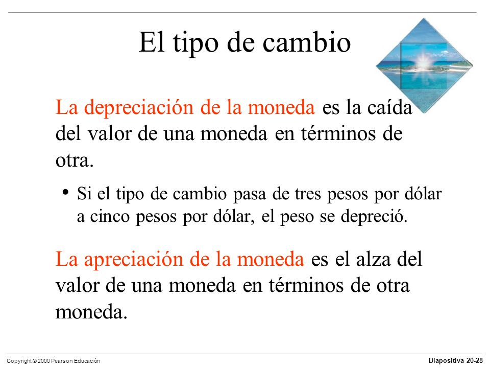 El tipo de cambio La depreciación de la moneda es la caída del valor de una moneda en términos de otra.