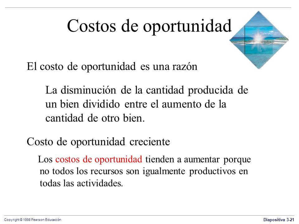 Costos de oportunidad El costo de oportunidad es una razón