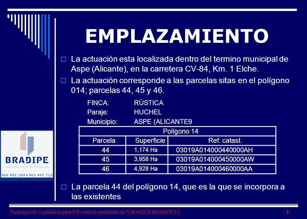 EMPLAZAMIENTO La actuación esta localizada dentro del termino municipal de Aspe (Alicante), en la carretera CV-84, Km. 1 Elche.
