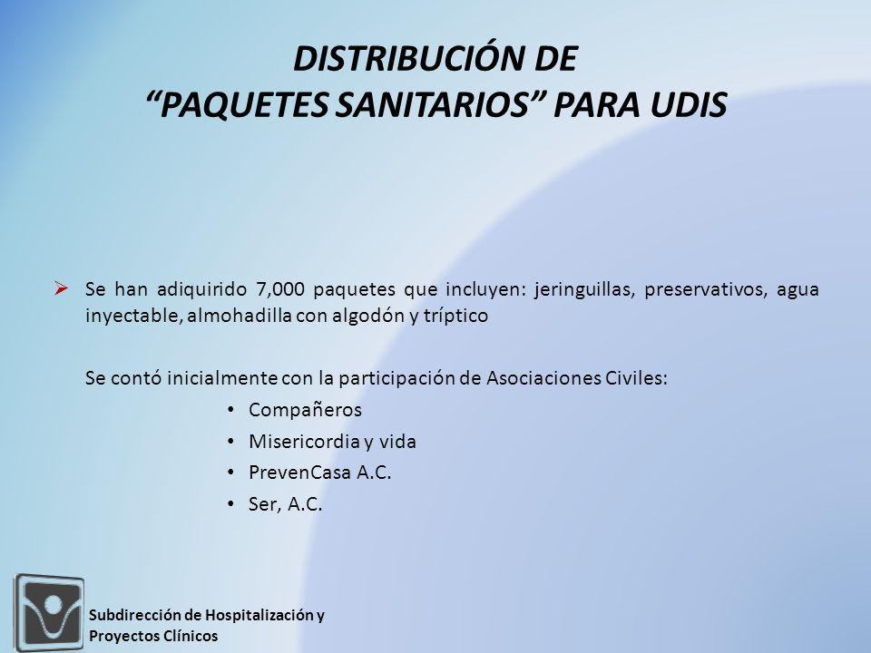 DISTRIBUCIÓN DE PAQUETES SANITARIOS PARA UDIS