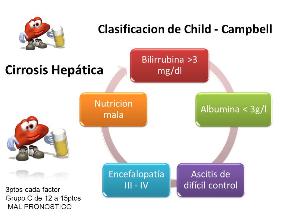 Cirrosis Hepática Clasificacion de Child - Campbell 3ptos cada factor