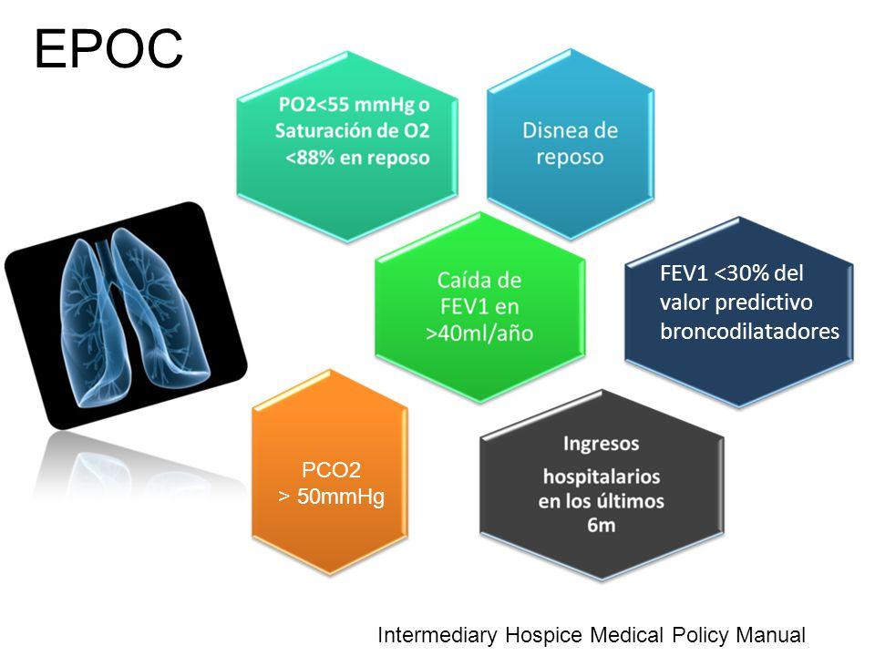 EPOC FEV1 <30% del valor predictivo broncodilatadores PCO2